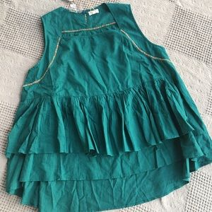 World Market Boho Teal Cotton High Low Tiered Top